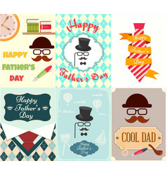 set posters greeting cards happy fathers day vector image vector image