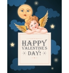Valentines day card with cupid and moon vector image vector image