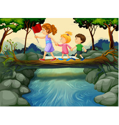 children crossing river in the woods vector image vector image