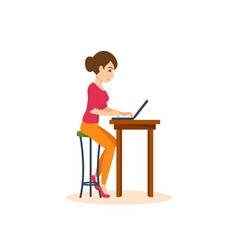 girl working at laptop on freelance vector image