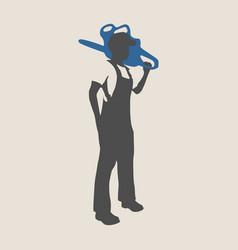 lumberjack worker silhouette vector image
