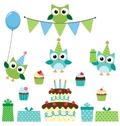 Party owls blue set vector image