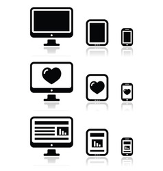 reResponsive website design - screen icons vector image vector image