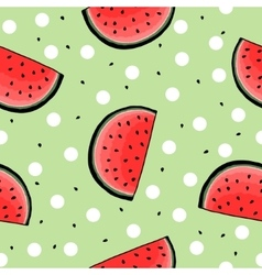 Seamless hand drawn watermelon pattern vector image vector image