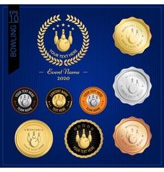 Set of bowling badge label or emblem for sport vector image vector image