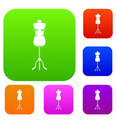 sewing mannequin set collection vector image vector image