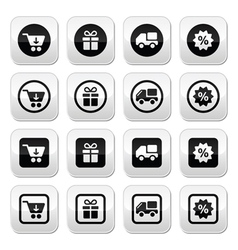 Shopping on internet black buttons set with shadow vector image