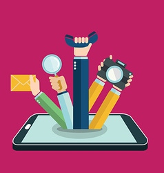 Smart phone concept hand coming out apps and vector image vector image