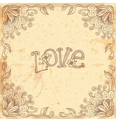 Vintage Valentines Day card with a floral frame vector image vector image