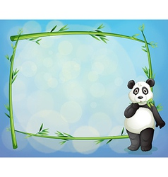 A panda beside a framed bamboo tree vector