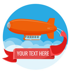 advertising blimp in sky with clouds vector image