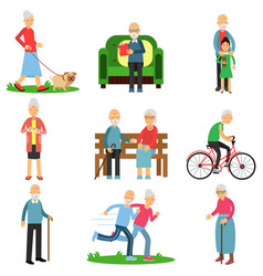 Aged people characters in different situations set vector