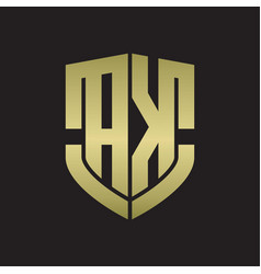 Ak logo monogram with emblem shield shape design vector