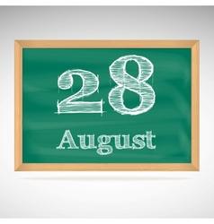 August 28 inscription in chalk on a blackboard vector