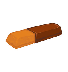 Bar of chocolate with biscuit inside isolated on vector
