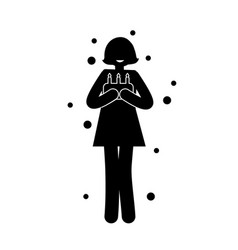 black silhouette of woman cake and three candles vector image