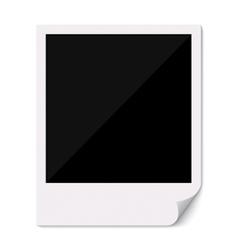 Blank polaroid photo frame with curved corner vector