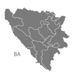Bosnia hercegovina regions map grey vector