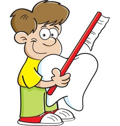 Boy holding a tooth and a toothbrush vector image