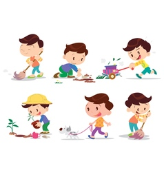 Boy working home many action vector