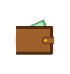 Brown wallet with card and cash flat icon vector image