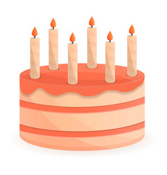 candle birthday cake icon cartoon style vector image