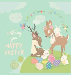 cartoon deers with cute bunnies happy animals vector image