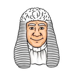 Cartoon old judge in white wig vector