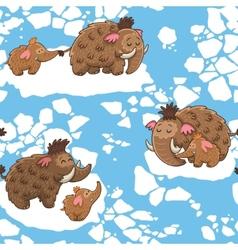 Cartoon pattern with mammoths vector