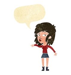 Cartoon woman playing it cool with speech bubble vector