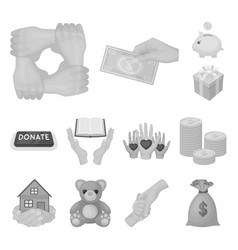 charity and donation monochrome icons in set vector image