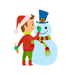 Christmas holiday vacations of boy with snowman vector