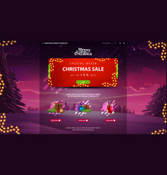 christmas sale design website template with vector image