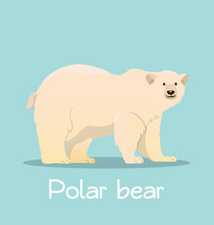 Cute polar bear in sea ice desian on sky blue vector