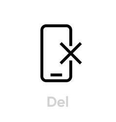del phone editable line vector image