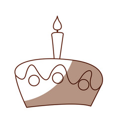 delicious cake with candle celebration icon vector image