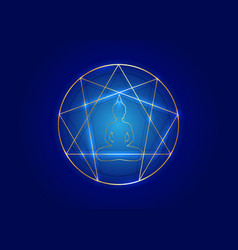 Enneagram yoga gold icon design sacred geometry vector
