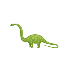flat design of green apatosaurus or vector image