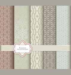 floral seamless pattern set in vintage style vector image