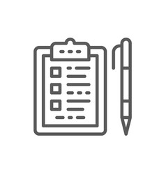 folder tablet with pen checklist line icon vector image