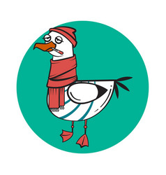Funny cartoon seagull sick vector