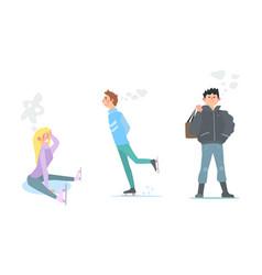 girl and young man skating winter activities vector image