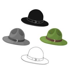 Green hat a canadian ranger canada single icon vector