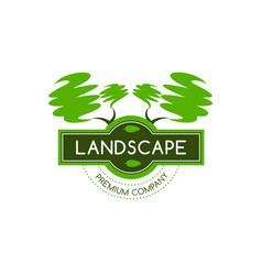 Green trees icon for landscape designing vector