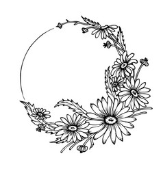 hand drawn wreath with chamomile flowers vector image