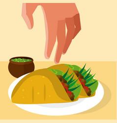 Hand grabbing burritos vector