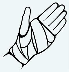 Hand tied elastic bandage vector