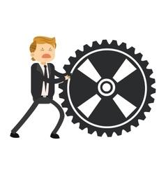 Happy businessman pushing gear icon vector