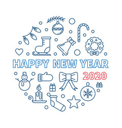 happy new year 2020 round concept linear vector image