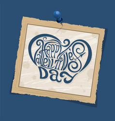 Happy valentines day hand drawing lettering blue vector